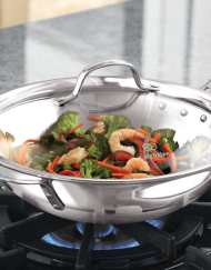 "Calphalon Tri-Ply Stainless Steel 12"" Stir Fry & Cover by Calphalon"